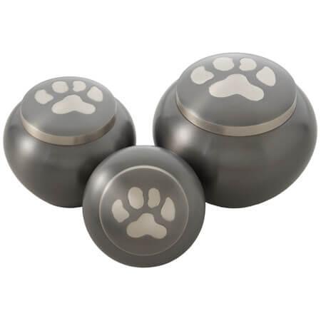 urnen - messing - urnen - rond - antraciet grijs - 1 poot